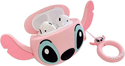 MC Fashion AirPods Case, Cute Cartoon AirPods Silicone Case Shockproof Protective Skin for Apple AirPods Charging Case Compatible with AirPods 1&2 Case with Ring Lanyard (Stitch_Pink)