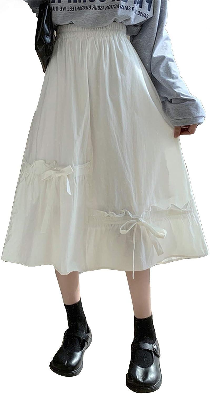 Girl Spring Autumn Women White Skirt High Waist Bows Midi Elegant Cute Kawaii Skirts
