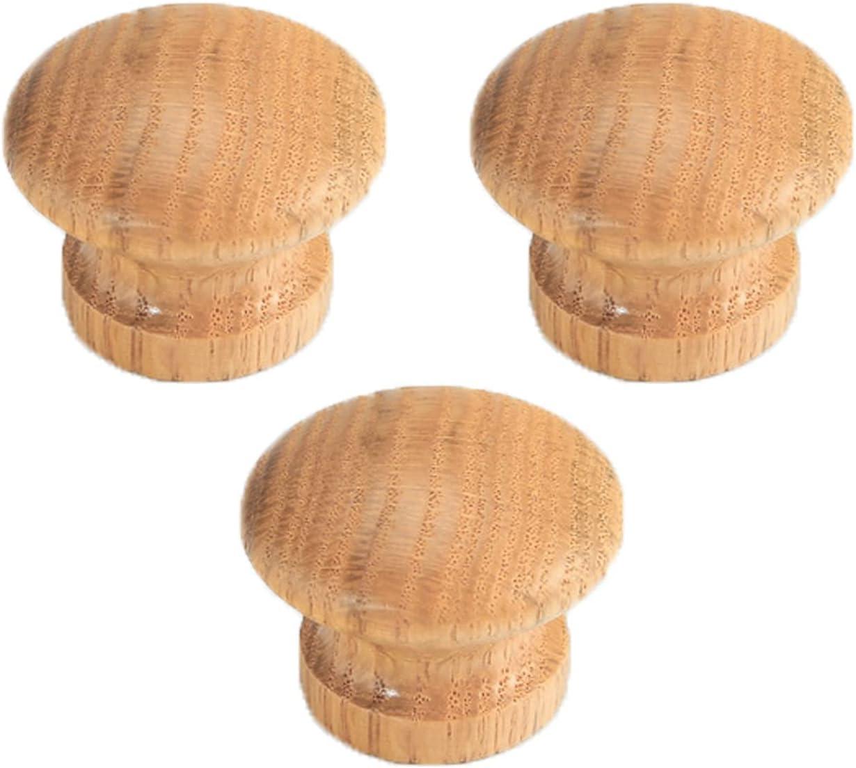3 pomos de Madera para Muebles, Tiradores Naturales, Tiradores Tradicionales para cajones, Tiradores de Puerta de Estilo Simple, palancas de Puerta para Armario, Tiradores de tocador con Tornillos (r