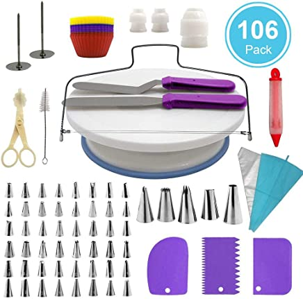 eFUture 106 pcs Cake Decorating Supplies Kit, Professional Cupcake Baking Decorating Kits Rotating Turntable Stand, Frosting Piping Bags and Tips Set, Icing Spatula and Smoother, Pastry Tools Set