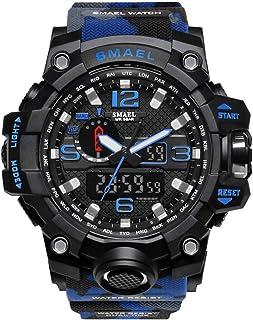 SMAEL ミリタリー 迷彩風 アナデジ 腕時計 メンズ 男性 アラーム クロノグラフ 多機能 スポーツ ウォッチ (ブルー)