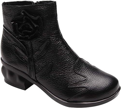 Qiusa Bottines à Lacets en en Cuir Faites à la Main à la Main pour Femmes (Couleuré   Style 4-noir Fleece, Taille   6.5 UK)