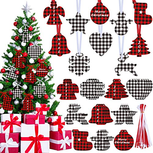 60 Pieces Christmas Buffalo Plaid Ornaments Christmas Trees Snowmen Snowflakes Bells Stars Sock Hanging Cutouts Bless Noel Joy Tags with Ribbon for Christmas Party Decor, 10 Styles (Classic Colors)