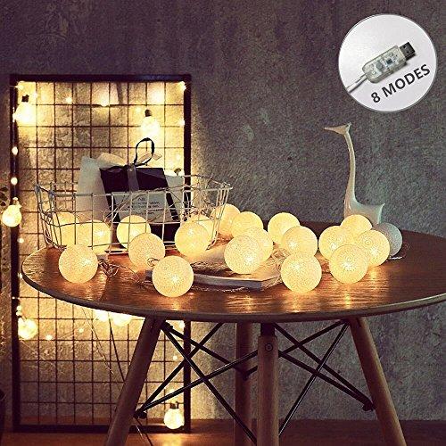 ELINKUME Guirlandes Lumineuses, 20LED Blanc Boules de Coton 8 Modes de Lumière de la Chaîne 4,0M Lampe Féerique Belle Décoration Intérieure éclairage (Interface USB, éclairage Blanc Chaud)