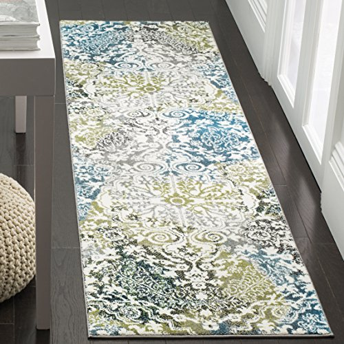 Safavieh Watercolor Collection WTC669B Boho Chic Medallion Non-Shedding Stain Resistant Living Room Bedroom Accent Rug, 2'3' x 4', Ivory / Peacock Blue