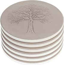 AlphaAcc Ceramic Coasters for Drinks Large Size 4.2 in Diameter - Great Cork Backing Coaster Gift for Home Tree of Life Design,Pack of 6