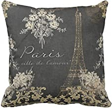 Suo Long Funda de Almohada Negra Vintage Paris City of Love Torre Eiffel Pizarra Tan Funda de Almohada Antigua