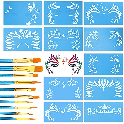 Face Paint Stencils by Pixiss 13 Pack Kit Large Reusable Face Painting Stencils for Facepainting, Tattoo Templates, Halloween Makeup Stencil with 10 Painting Brushes Nylon Round and Pointed Brush Set
