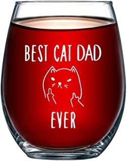 Best Cat Dad Ever Funny Wine Glass 15oz - Unique Christmas Gift Idea for Cat Lovers - Perfect Birthday Gifts for Men - Rude Sarcastic Cat Meme Cup - Evening Mug
