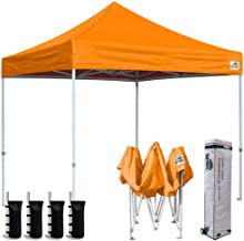Best Eurmax 8x8 Feet Ez Pop up Canopy, Outdoor Canopies Instant Party Tent, Sport Gazebo with Roller Bag,Bonus 4 Canopy Sand Bags (Orange) Review