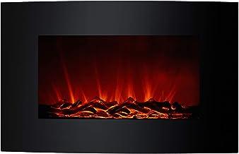 Chimenea Eléctrica 2000 W Kekai Montana 66x15x52 cm con Simulación de Fuego de Pared Negra