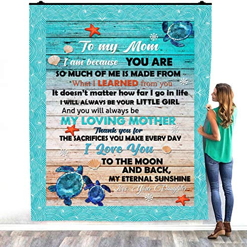 Turtle To My Mom I Am Because You Are So Much My Loving Mother Thank You My Eternal Sunshine Love Your Daughter - Manta de forro polar de felpa para decorar dormitorios (60 x 80 pulgadas)