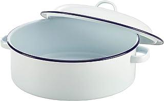 Olla con tapa, 26 cm, esmaltada, redonda, color blanco, utensilio de cocina apto para horno