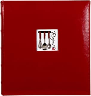"C.R. Gibson Red Leather Kitchen Recipe Keeper Binder - 11"" x 12"""