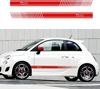 carado Racing Body Side Stripe Skirt Roof Hood Decal Sticker for 500/turbo Abarth Vinyl Sport Badge Car Styling Accessories Red 1 Pair