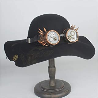 HaiNing Zheng 100% Wool Women Steampunk Dome Fedora Hat Old Cosplay Wide Brim Topper Top Hats Billycock Groom Hat