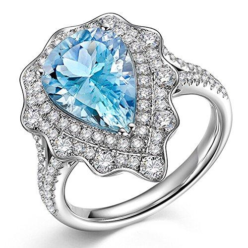 Mar de hielo Azul Aguamarina Piedra preciosa Diamante Sólido 14K Oro blanco Boda Dating Fiesta Anillo Conjuntos para Mujer
