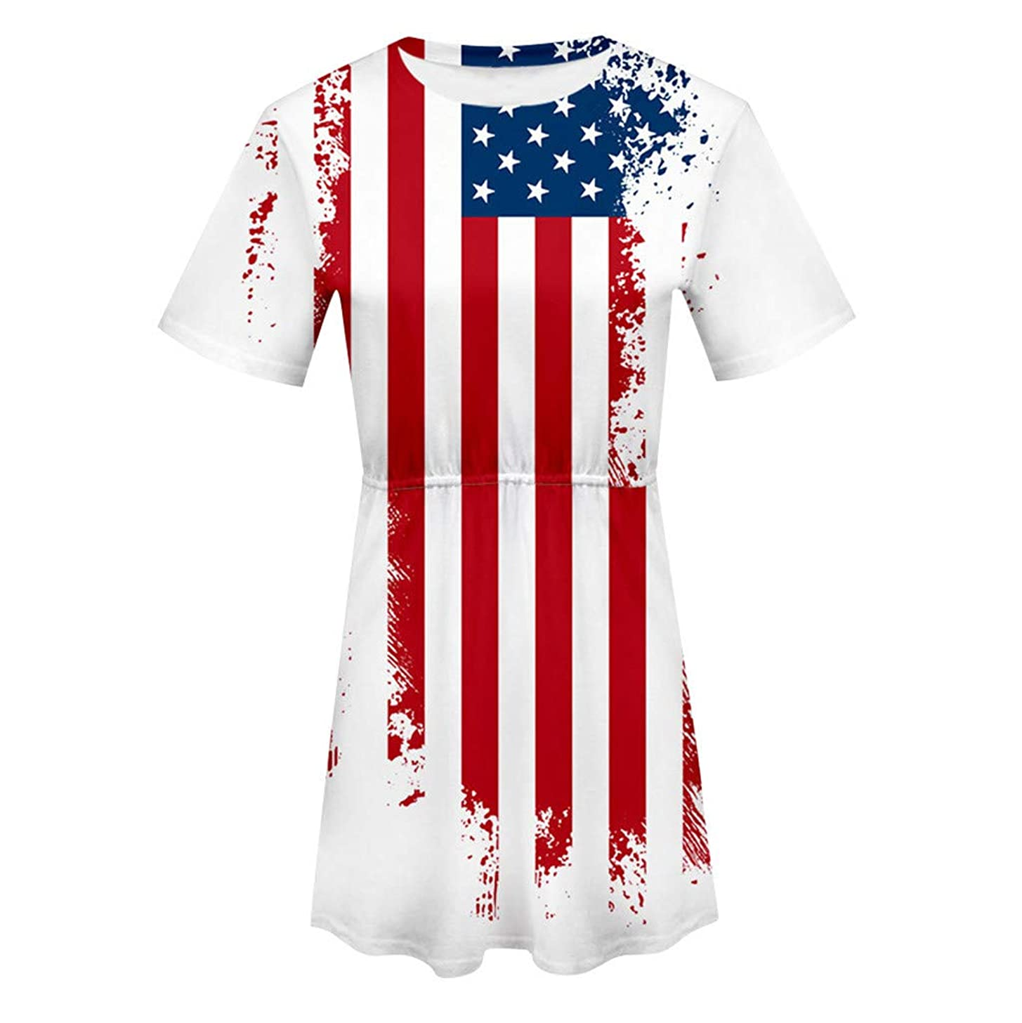 Midress Women's Short Sleeve Casual Tunic Elastic Waist T-Shirt Dress American Flag USA Short Sleeve O Neck Print Ladies Dress