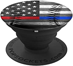 Usa American Flag Thin Red Blu Line Baseball Ball - PopSockets Grip and Stand for Phones and Tablets