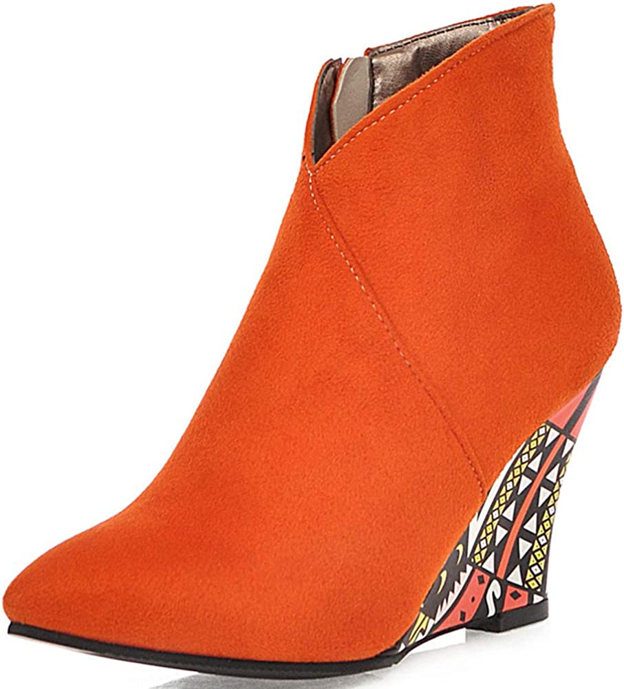 Free shipping anywhere in the nation Vimisaoi Womens V Cut Wedge Ankle Max 55% OFF Booties Toe Heel Pointed High