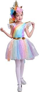 Direct Halloween Girl's Rainbow Unicorn Costume with Wing and Headband