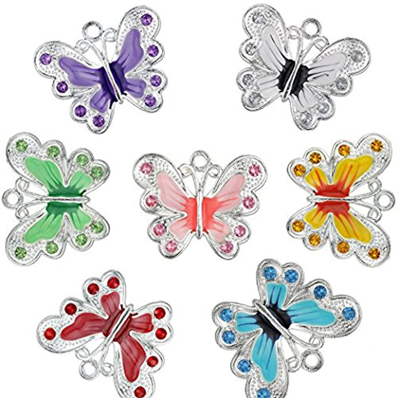 RUBYCA Silver Plated Big Butterfly Enamel Charm Beads Pendants for Jewelry Making DIY 56pcs Mixed