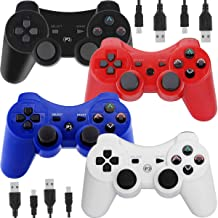 Wireless Controllers for PS3 Playstation 3 Dual Shock, Bluetooth Remote Joystick Gamepad for Six-axis with Charging Cable,...