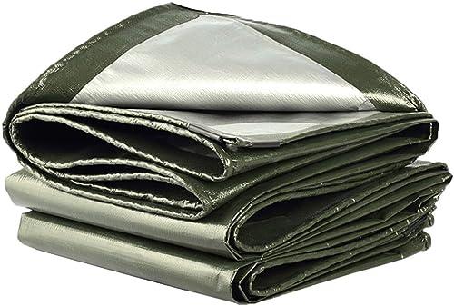 LXLA- Bache imperméable verte argentée - Bache anti-pluie résistante avec oeillets, couvre-plancher polyvalent pour l'extérieur, 180 g m2 (Taille   6m x 6m)