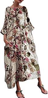 Vestido Largo sin Mangas con Cuello en V sin Mangas con Cuello en V y Estampado de Moda para Mujer Vestido Largo de Fiesta Nacional