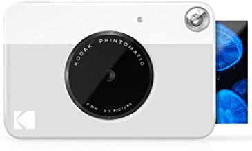 "KODAK Printomatic Digital Instant Print Camera - Full Color Prints On ZINK 2x3"" Sticky-Backed Photo Paper (Grey) Print Mem..."