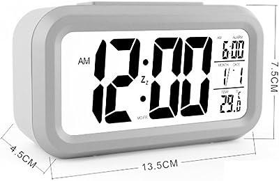 zhouzhouji LED Digital Alarma despertador Reloj Repeticion activada por luz Snooze Sensor de luz Tiempo Fecha