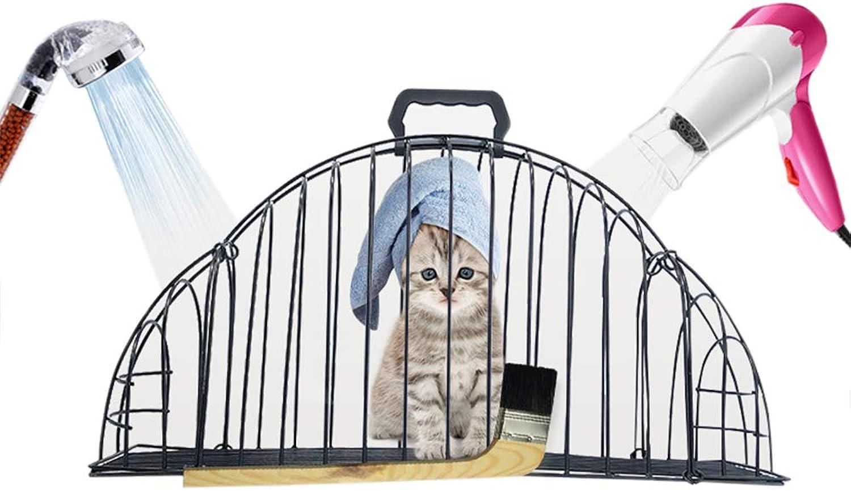 Cat Bathing Cage, AntiGrab AntiBite Fixed Bath Dry Hair Injection Medicine Cage+24cm Brush + wash cat Bag,L