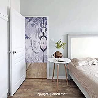 AmorFash Antique Doorway Curtain Japanese Noren Curtain Tapestry for Office/Restaurant,A Pocket Watch on Chain on Classic Ornamental Background with Silhouette of Leaves