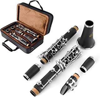 EASTROCK Clarinet Bb Flat 17 Nickel Keys Clarinet with 2 Barrels,Case,Stand,Care kit