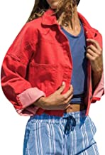 Winterjacke Leichte Jacke Denim Casual Frauen Kurz M/äntel Crop Jeans Mit Dekorativen Taschen und Rei/ßverschluss Lialbert Jeansjacke Damen /Übergangsjacke