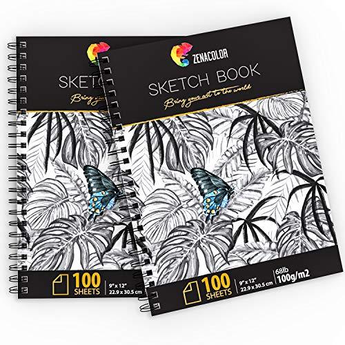 """2er Set x Professionnelle Zeichenblöcke, DIN A4 (9""""x12"""") mit Spiralbindung - 200 x Blatt Weiß (100 g/m²) - Skizzenbücher mit festem Einband - Malblock mit leeren Seiten zum Zeichnen, Skizzieren"""