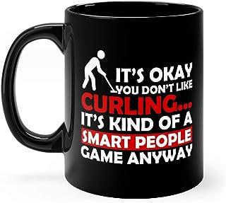 Curling Funny Player Smart Water Mug Ceramic Cups 11oz Black