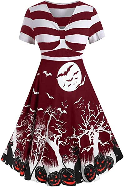 Dunacifa Women S Stripes Vintage Retro 1950s Style Swing Cocktail Dress Halloween Print Knotted V Back Dress