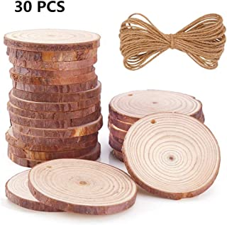 Natural Wood Slices 30Pcs 3.0-3.5 inch Round Circles Unfinished Predrilled Tree Bark Log Discs with Holes for DIY Crafts Rustic Wedding Decoration Vintage Wedding (30pcs 3.0