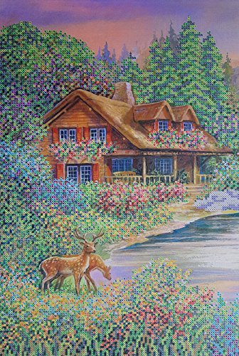 Country Cottage Bead Embroidery kit Needlepoint Tapestry Beaded Cross Stitch...