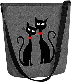 """Tasche Umhängetasche Filz Filztasche FUNKY """"Black Cats"""""""