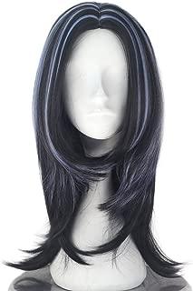 Miss U Hair Short Wavy Black Blue Strands Highlight Center Part Movie Cosplay Costume Wig Halloween