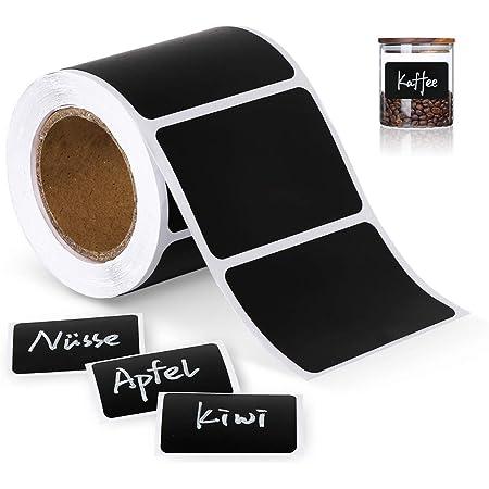 ilauke 150 étiquettes Cuisine Haute qualité en Noir Mat pour Pots et bocaux. Etiquettes Autocollantes Vierges en Format Ardoise pour boîtes à épices et Pots de Confiture,4cm x 6cm