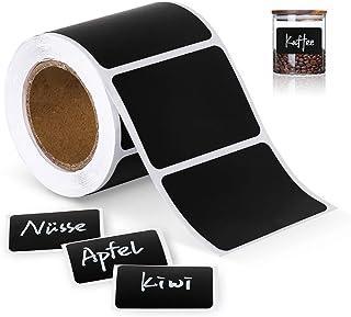 ilauke 150 étiquettes Cuisine Haute qualité en Noir Mat pour Pots et bocaux. Etiquettes Autocollantes Vierges en Format Ar...