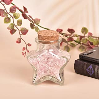 AMOYSTONE Rose Quartz Crystal Healing in Wishing Bottles Tumbled Crushed Chip Stones for Wicca Reiki Home Office Desk Deco...