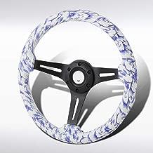 Autozensation 350mm Wooden Vintage Porcelain Style Black 3 Spoke 6 Bolt Racing Steering Wheel