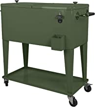 Clevr 80 Quart Qt Rolling Cooler Ice Chest Cart for Outdoor Patio Deck Party, Hunter Green Retro, Portable Backyard Party Bar Cold Drink Beverage Tub Trolley, Wheels with Shelf, Stand & Bottle Opener