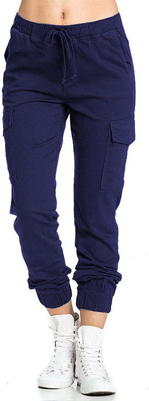 LOOKAA Women's Solid Color Pants Casual Elastic Waist String Side Pocket Pencil Pants Women's Sweatpants Workout Pants