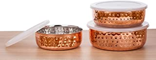 Signoraware Food Storage Bowls - Copper Plated Stainless Steel Stackable Storage Bowl Set with airtight Lids, 3 pc Multi Size Set