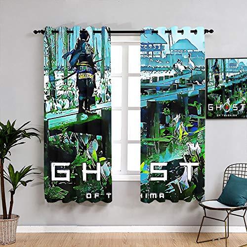 Matt Flowe Ghost of Tsushima - Cortinas opacas con aislamiento térmico para decoración de ventanas (84 x 84 cm)